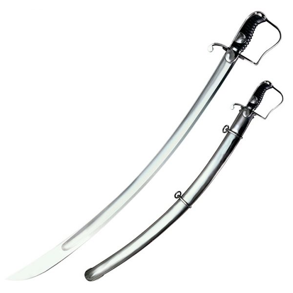 88SS 1 COLD STEEL 1796 Light Cavalry Saber 33 Carbon Steel Blade with Steel Scabbard