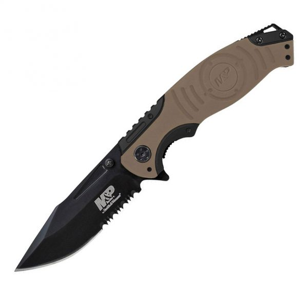 SWMP13GLS 1 S&W Partially Serrated Liner Lock Folding Knife